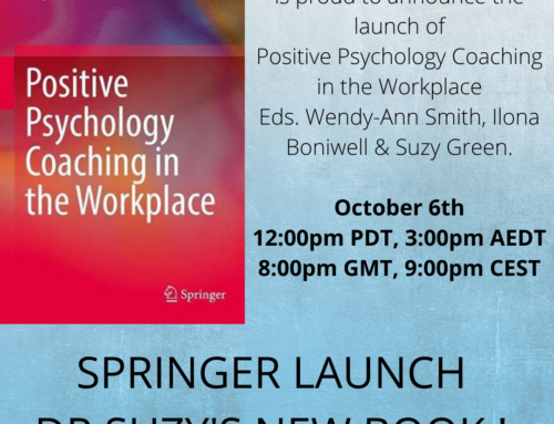 Springer Launch Dr. Suzy's Latest Book – Positive Psychology Coaching in the Workplace.